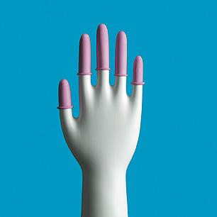pink anti-static finger cots worn on hand