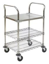 Cleanroom Storage Utility Carts with Solid Shelf