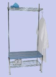 Gowning Rack Bench with Optional Shoe Rack