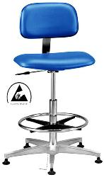 cleanroom chair class 100 esd safe durable tube steel base chrome finish esd casters fixed footring